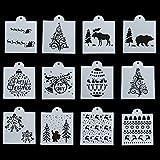 12pcs/Set Papier - Karte Album dekorative Stempel wandmalerei Frohe Weihnachten Schichtung schablonen in Einer vorlage Scrapbooking