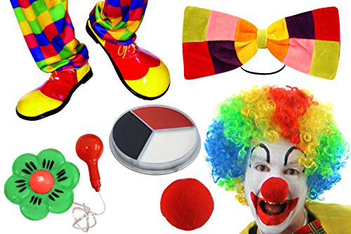 DELUXE CLOWN VERKLEIDUNGS ZUBEHÖR SET = CLOWN SCHUHE + ROTE SCHAUMSTOFF NASE + RIESEN FLIEGE + MAKE UP + CLOWN PERÜCKE + GRÜNE WASSER SPRITZENDE BLUME == DAS PERFEKTE ZIRKUS (Riesen Clown Schuhe)