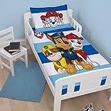 Paw Patrol Peek Kinder-Bettdecke für Babybett Junior Kleinkinder Bettwäsche Bettbezug | Chase, Marshal und Schutt Design