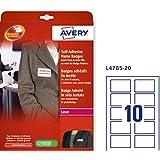 Avery España L4785-20 - Pack de 20 folios de identificativos adhesivos para impresoras láser, 80 x 50 mm, color blanco