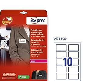 Avery L4785-20 Self Adhesive Printable Name Badges for Laser Printers - White, 200 Badges per Pack