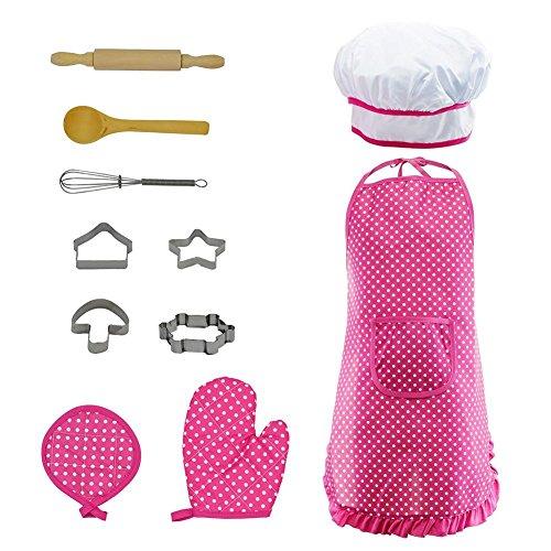 Clevoers Kinder-Küchen-Set 11-teilig zum Spielen von Küchenspielzeugen für Kleinkinder, zum Verkleiden von Koch, Karriere, Rollenspiel für Mädchen ()