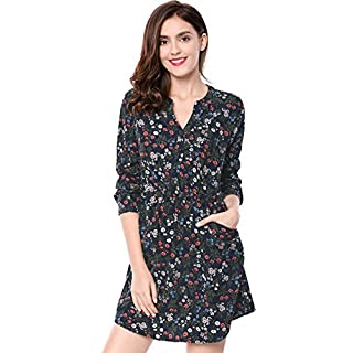 Allegra K Women's Buttoned Closure Floral V Neck Dress w Pockets Blue L (UK 16)