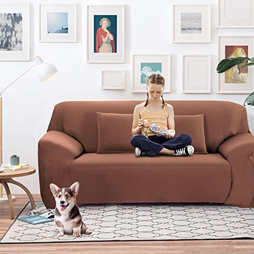 SearchI Funda elástica para sofá de 3 plazas, Cubierta Antideslizante en Tejido elástico Extensible, Protector del sofá, Color Gris,Café Claro,Medida Desde 190 a 230 cm (Café Claro)