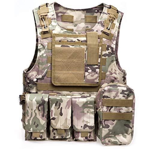 YANODA Militärische Taktische Weste Armee Airsoft Weste Kampfjagd Weste Mit Pouch Assault Outdoor Jungle Equipment Sport (Color : Cp Camouflage)