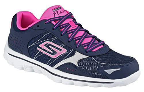 Skechers sk13960 Damen Go Walk 2 Flash Lace Up Sports Trainer Damen Schuhe Schwarz/Lime