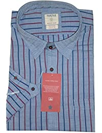 Turtle Men's Half Sleeves Striped Casual Shirt