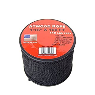 Atwood Rope 1/16 inch Microcord 100 foot spool, Mosquito Cord, 2mm paracord, Micro Parachute Cord - BLACK by Atwood