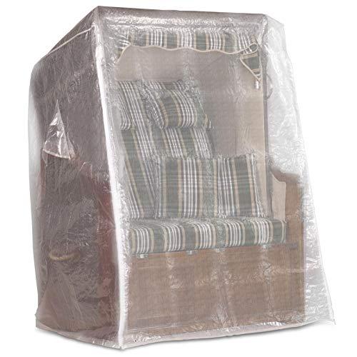 Möbelcreative Strandkorb Schutzhülle 130 cm breit in transparent, Strandkorbhülle mit reißverschluss, Strandkorbabdeckung