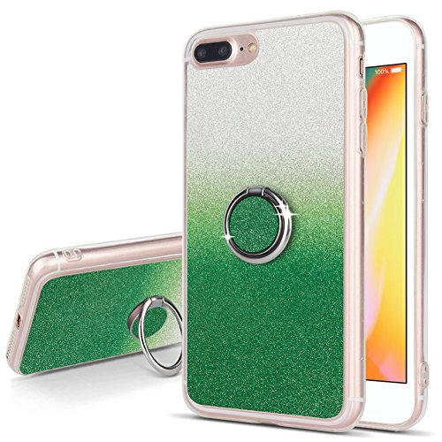 Bling iPhone 7 Plus Case Bling iPhone 8 Plus Case Glitzer Transparent Handy schutzhülle mit Finger Ring Ständer für Teens Mädchen Frauen Jungen Herren, Dunkelgrün