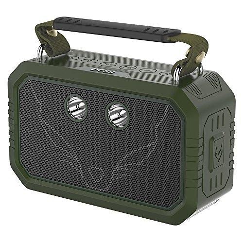 DOSS Traveler Altavoces bluetooth portátiles e impermeables. Cuentan con un sonido HD de 20 vatios, graves mejorados, micrófono incorporado y una batería recargable para iPhone y Android.[Verde]