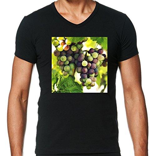 T-shirt Nero scollo a V Uomo - Taglia L - Uva Da Vino, Autunno Cadere by Petra
