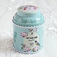 HuntGold floral joint double couche chariot à thé boîte de bonbons conteneur ménager(vert)