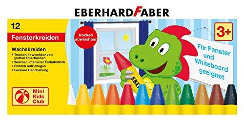 fenstermalfarben Eberhard Faber 524112 - Mini Kids Club, Wachsmalkreide für Fenster, 12 Stück im Kartonetui
