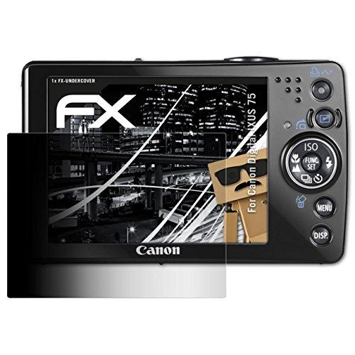 atFoliX Blickschutzfilter kompatibel mit Canon Digital IXUS 75 Blickschutzfolie, 4-Wege Sichtschutz FX Schutzfolie Canon Ixus 75 Digital Kamera