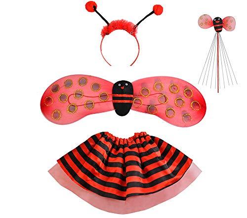 Iso Trade Kostüm Marienkäfer Biene Set Verkleidung Kinder Rot/Schwarz 4 Elemente Komplett Outfit #6613, Muster:Marienkäfer (Vier Elemente Kostüm)