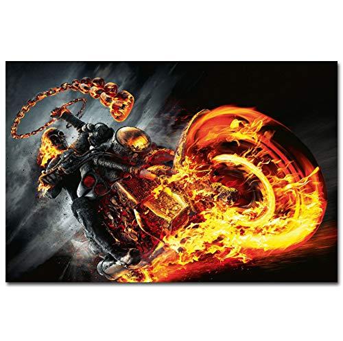 NOVELOVE Wandkunst Bild Ghost Rider 1 2 Hot Classic Horror Movie Poster Drucken Leinwand Gemälde Ohne Rahmen 40 * 60 cm (Horror Movie Classic Poster)