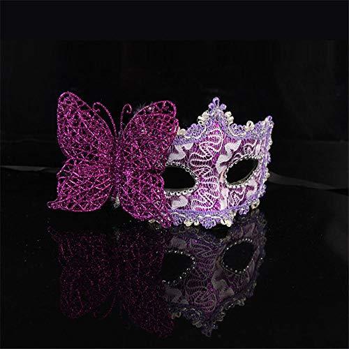 QTJKH Horror Maske Venezianische Maskerade Schmetterling Blume Venezianische Maske Venedig Hochzeitsfeier Prop Performance Sex Lady Mask Masquerade Ladies @ Lila (Dark Clown Kostüm)