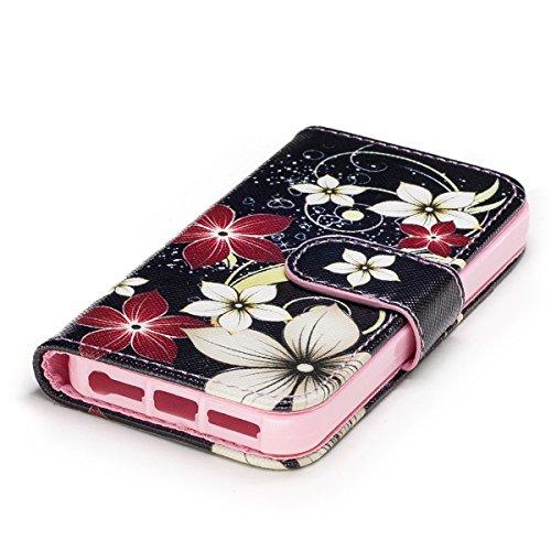 EUWLY Case Cover per iPhone 6 Plus/iPhone 6s Plus (5.5),Ultra Slim Sottile Custodia Protettiva Portafoglio pelle PU Case Lusso Flip Stand Slot Funzione di Supporto Leather Wallet Case per iPhone 6 Pl Fiore Rosso