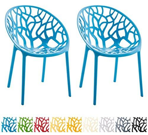 CLP 2er-Set Gartenstuhl Hope aus Kunststoff I 2X Wetterbeständiger Stapelstuhl mit Einer max. Belastbarkeit von: 150 kg I erhältlich Blau