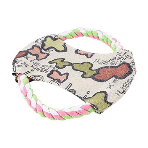 sourcingmap Baumwolle Seil Pet Hund Fetch Spiel, Frisbee Flyer Spielzeug, Pink/Grün -