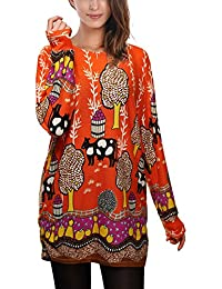 DJT Femme T-shirt Manches Longues Lache occasionnel motifs differents Blouse Pull-over