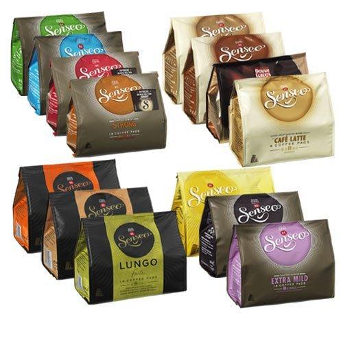 Senseo Kaffeepads 14 Sorten Starter Set - Klassisch, Mild, Kräftig, Entkoffeiniert, Cappuccino,...