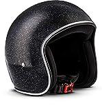 Rebel · R2 'Flakes Black' (Schwarz) · Jet-Helm · Chopper Retro Mofa Motorrad-Helm Scooter-Helm...