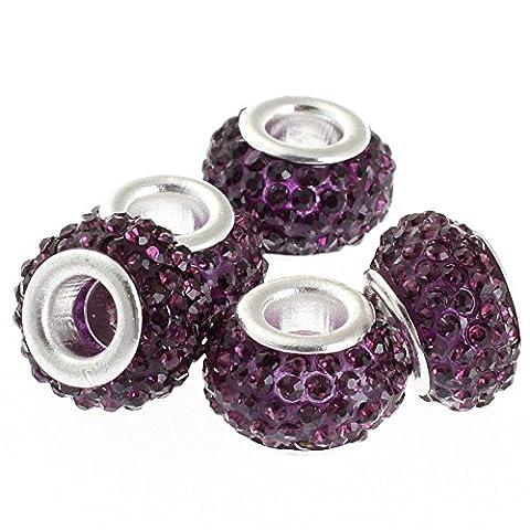 Rubyca gros trous 11mm cristal Charm perle pour bracelet charms européens, violet, 100 PCS