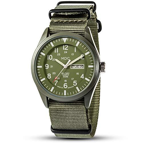 Herrenuhr Grün Herren Uhr Wasserdicht Armbanduhr Outdoor Männer Nylon Militär Uhren Herrenarmbanduhr Tactical Watch by MDC