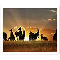 JP London POS2370 uStrip Peel and Stick Removable Wall Decal Sticker Mural Kangaroo Family Outback Wild, 24-Inch by 19.75-Inch