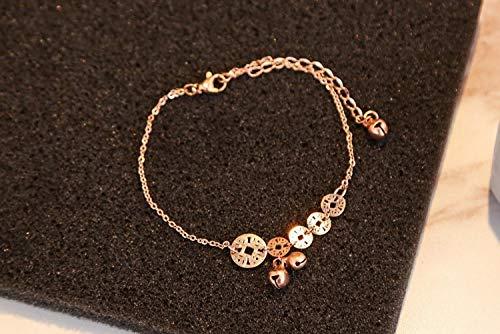 9 - THTHT Pulsera para el Tobillo de Metal Sencillo Estilo Mujer Oro Rosa Moneda Antigua Campana Moda romántica de Verano Hermosa Joyería Temperamento Creativo