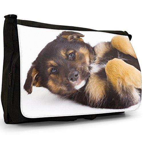 Fancy A Bag Borsa Messenger nero German Shepherd Puppy Dog On Back German Shepherd Puppy Dog On Back