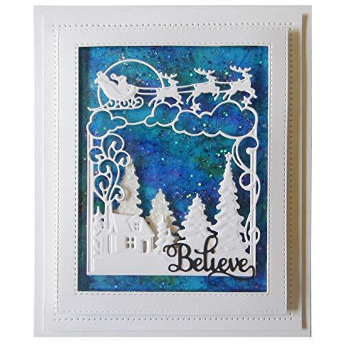 Ruby569y Scrapbooking Prägeschablonen Stanzformen Schablonen, Christmas Sleigh Tree Metal Cutting Dies DIY Scrapbook Emboss Paper Cards Craft Silver