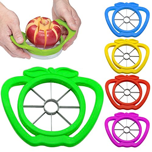 Kabalo Rouge INOX APPLE WEDGER / SLICER / COUPE / VIDE / DIVIDER / EPLUCHEUR aussi pour PEAR et autres fruits! [RED STAINLESS STEEL APPLE WEDGER / SLICER / CUTTER / CORER / DIVIDER / PEELER also for PEAR and other FRUIT!]