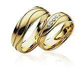 2x Eheringe Partnerringe Trauringe Verlobungsringe Freundschaftsringe in 585 Gold *mit Gravur und 5 Steinen*