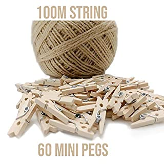 60pcs Mini Wooden Pegs + 100m String, Dorman & Walsh Mini Pegs for Decorative Photo Wall, DIY Decoration's, Mini Wooden Clothes Pegs, Tiny Pegs for Arts and Crafts, Weddings & Events