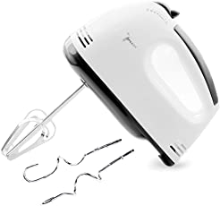 Grizzly 7-Speed Lightweight Hand Mixer with Chrome Beater + Dough Hook, White