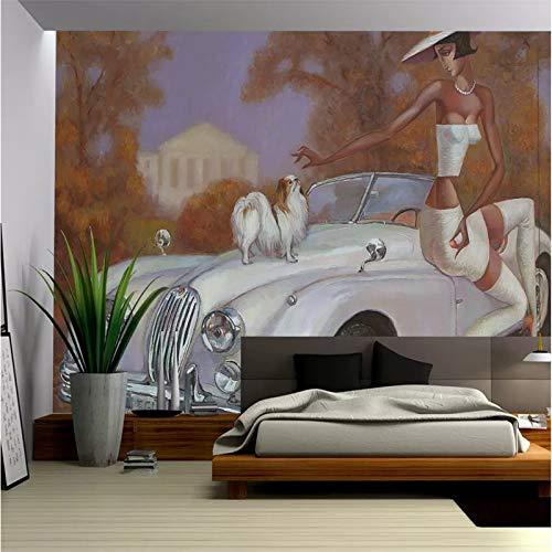 Carta da parati 3D medievale d'epoca auto d'epoca bellezza animale domestico cane pittura a olio murale sfondi per pareti del soggiorno Papel De Parede 3D-250X200CM