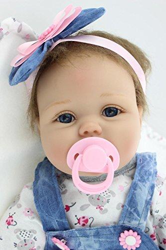 OUBL 22Zoll 55 cm Günstig Soft Silikon Vinyl Doll Magnetismus Spielzeug Geschenke lebensecht Reborn Puppe Babys Kinder Mädchen