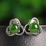 SanQ-Seven Pendiente de Jade hetiano Jaspe Mujer Ciruela Verde Natural...
