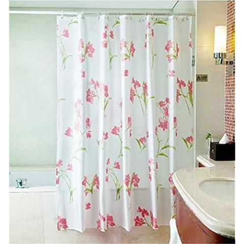 GYMNLJY Rosa Nero Fiori poliestere impermeabile tenda della doccia spessa cortina Bagno Doccia Ombra per vasca da bagno tagliato Hanging tenda , 2 ,