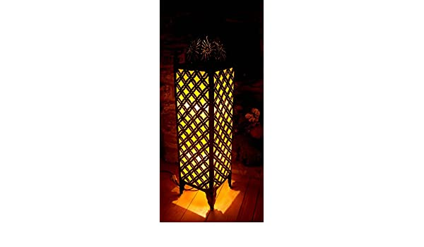 Gold Metal Sassak Moroccan Style Side Floor lamp Made fabric-gold-100cm high