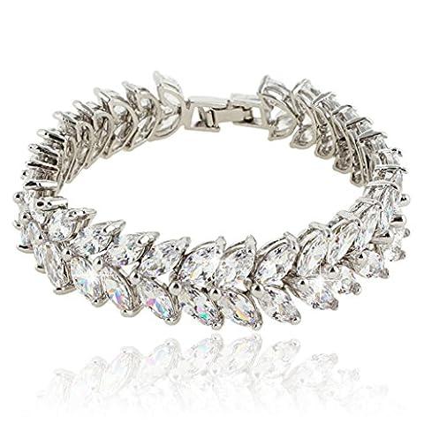 Ever Faith Hochzeit Leaves Prong klar CZ Armband Chain Silber-Tone