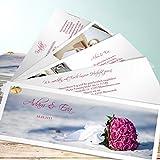 Hochzeitseinladungen, Brautstrauß 200 Karten, Kartenfächer 210x80 inkl. weißer Umschläge, Weiß