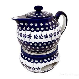 Boleslawiec Pottery Teapot 1.0 L with Warmer, Original Bunzlauer Keramik, Decor 166a