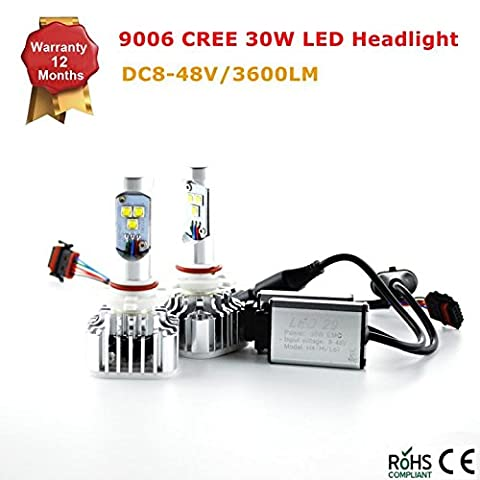 8-48V 9006 HB4 Hi/Lo Beam Cree LED Headlight Bulbs - 30W 3600Lm White(6000K) Plug & Play Conversion