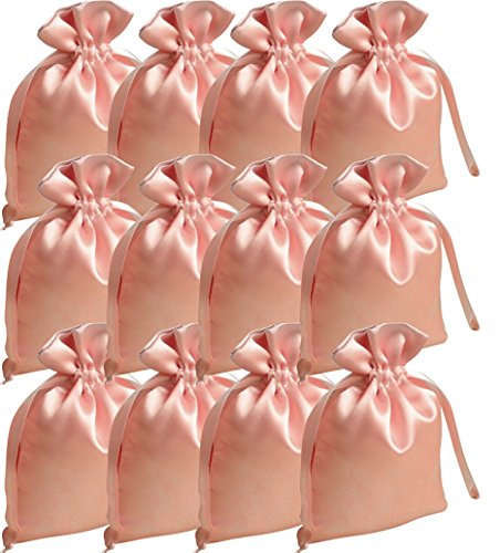 12 Satin-Beutel rosa, 15 x 10 cm (Satin-beutel)