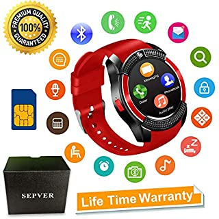 Smart Watches Bluetooth Smart watch SN08 Unlocked Watch Phone Fitness tracker with SIM Card Slot Touch Screen Camera for Android Phones Samsung Huawei LG Xiaomi Sony IOS iPhone Men Women Kids (Red)