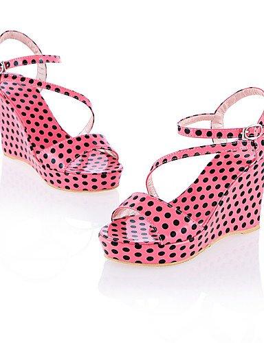 UWSZZ IL Sandali eleganti comfort Scarpe Donna-Sandali-Ufficio e lavoro / Formale / Casual-Zeppe / Aperta-Zeppa-Vernice-Nero / Rosa / Tessuto almond Black